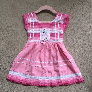 [NWOT] Pink Crochet Embroidered dress Size 2T